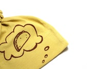 Organic Baby Hat (Taco Thoughts) hand screen printed dijon yellow with brown ink