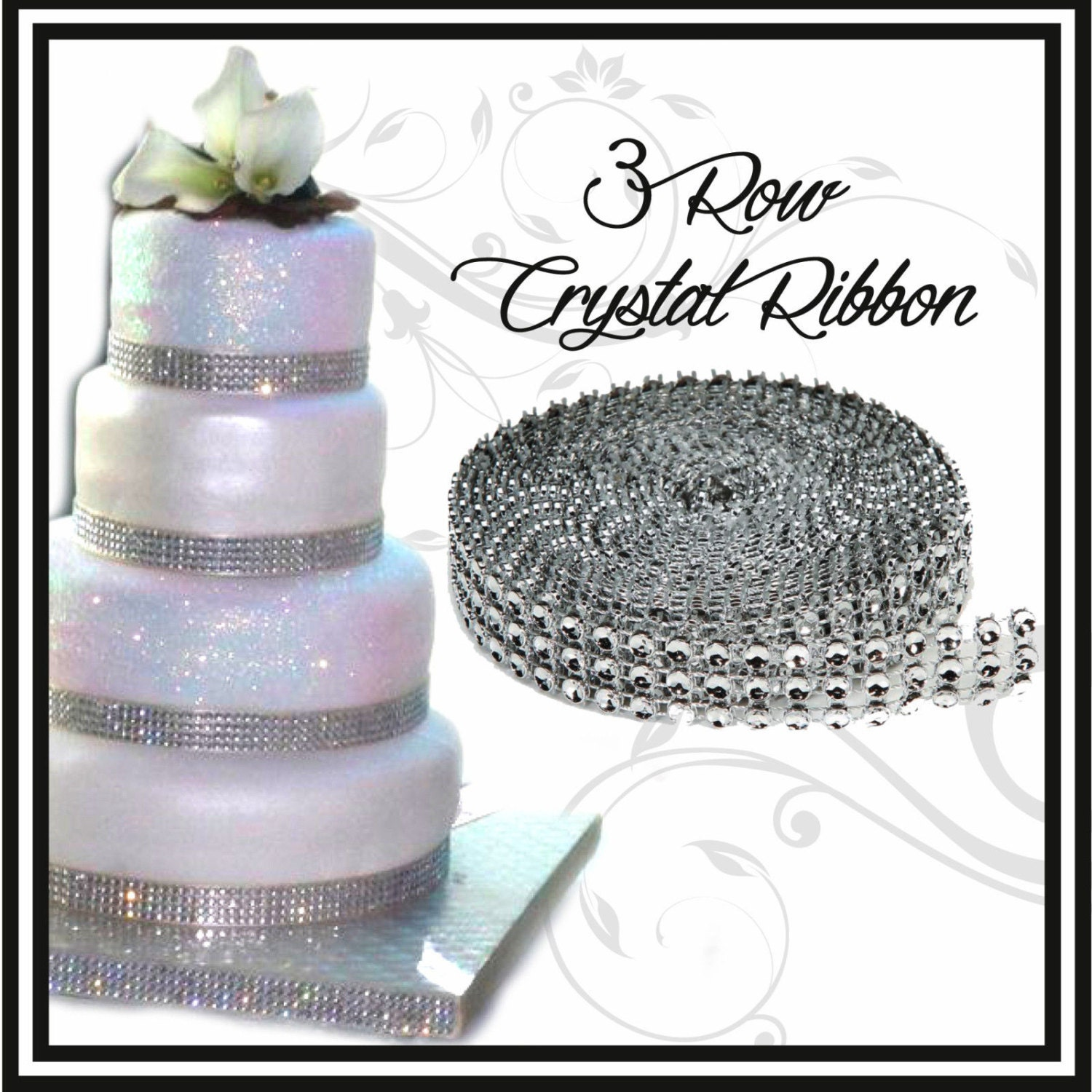 3 Yards Rhinestone Wedding Cake Ribbon Crystal Ribbon Banding