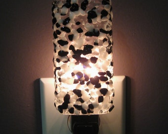 Glass Night Light - Black and White Fused Glass Kitchen or Bathroom Night Light, Housewarming Gift