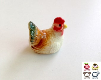 White Ceramic Chicken, hen, ceramic rooster, mini chick, miniature animal, mini animal, small animal, farm, country, little animal, brown