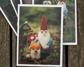 Holiday Greeting Cards with Gnomes - Pack of Five - FREE SHIPPING