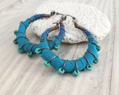 Reserved For Debbie - Silk Road Gypsy Hoop Earrings, Eclectic, Copper, Blue and Turquoise, Silk Wrapped