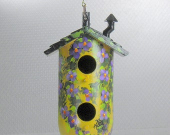 Yellow Decorative Birdhouse , with Two Holes , Hand Painted , and a Chimney