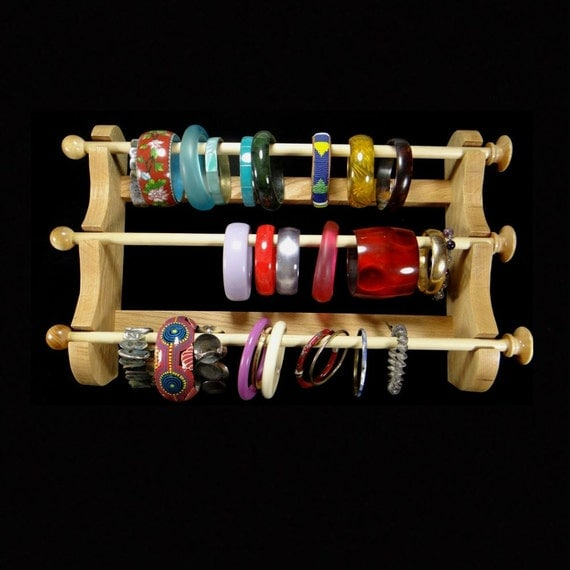 wall mounted 3 wand hanging bracelet holder storage display. Black Bedroom Furniture Sets. Home Design Ideas