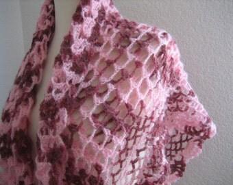 crochet shawl,lacy, 3 dimension, pink shaded, superb quality, fancy, sooooooo beauiful, new, for women, winter fashion