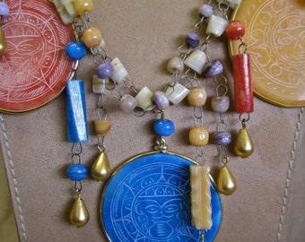 Colors of the Sun: Aztec Calendar Necklace Vintage Assemblage Carved Agates Multicolor Boho Primitive Tribal Mexican Statement