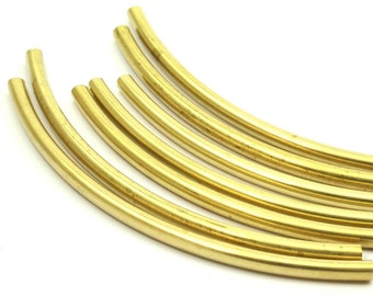 12 Raw Brass Curved Extra Long Tube Findings (110 X 5 Mm) Brc258