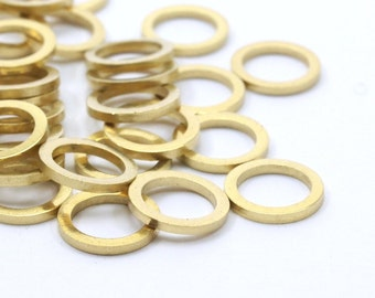 8mm Brass Ring, 100 Raw Brass Circle Ring Findings (8mm) b0117