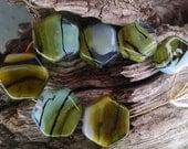 Lampwork Glass Beads Borosilicate Swamp Stones. blue green