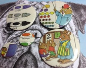 Richard Scarry 1st day at school vintage illustration pin badge set x 5 from original 1970's Annual,Red Mutha Rabbit Teacher learning mice