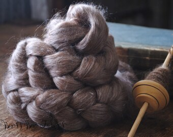 CHOCOLATE - Undyed Alpaca Silk Blend Roving Combed Top for Felting or Spinning 4 oz