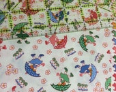 Maywood Studio Walk in the Park rainy day FABRIC 8810-E 100% cotton by the yard 1930's repro Feedsack kids | quilt cotton | pink blue green