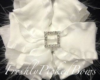 White Double Ruffle BOW with curly ostrich and rhinestone square center