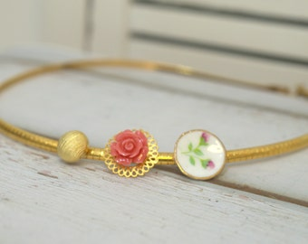 Statement Necklace, Golden Choker,  Vintage Style Buttons Necklace, bridesmaids gifts