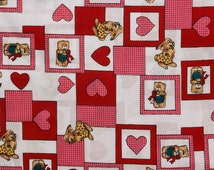 Pink and Red Cotton Fabric Hearts Bunny Rabbits Bears on a white background Four fat quarters Yellow green black Care bears, Valentine
