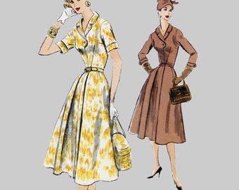 1956 Dress Pattern Vogue 8887 Front button bodice with shawl collar Pretty button feature Inverted pleat Banded sleeves Bust 34 Size 16
