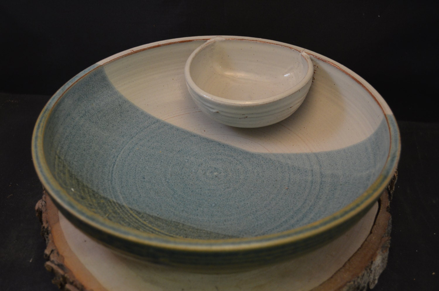 Handmade Ceramic Chip And Dip Serving Bowl Antique By