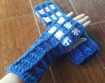 Crochet Doctor Who Tardis Handwarmers for Teens and Women