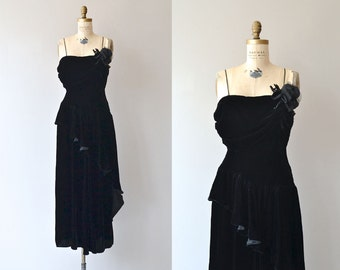 Virtuosa silk velvet dress | 1940s black velvet dress • vintage 1940s dress