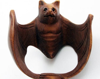 """Bat with Wings Spread Hand-Carved Boxwood Netsuke 1-5/8"""" Wide Bead"""
