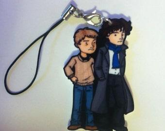 SALE Sherlock and Watson Fanart Keychain
