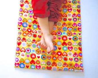 Toddler Nap Mat- Girls Preschool Napmat- Non Toxic Kids Bedding with Organic Denim - Rainbow Hearts (Ready to Ship)