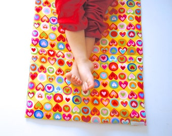 Toddler Nap Mat- Girls Preschool Napmat- Non Toxic Kids Bedding with Organic Denim - Rainbow Hearts