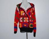 Vintage Sweater Red Aztec / Hipster / Retro Santoria