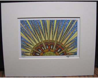 Rising Sun 8x10 single matted - hand signed - giclee print - pen and ink