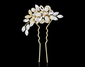 Pearl bridal hair pin wedding Vintage style freshwater pearl crystal hair clip pin gold OR silver wedding hair accessories 1940s style