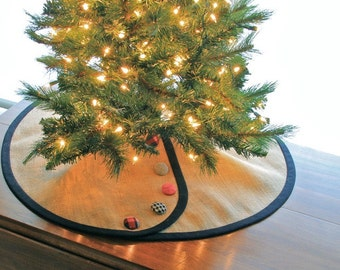 Pencil Christmas Tree Skirt -- Tailored, Burlap with Dressmaker Details of Banding & Buttons of Your Choosing