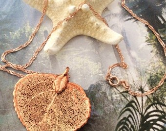 Real Leaf Jewelry, Colorado Aspen Leaf, Autumn Rose Gold patina, necklace pendant by Natures Leaves