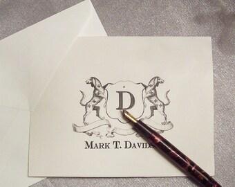 Personalized Dog Family Crest Monogrammed Note Cards Retriever Hound Stationery Black Ivory Set 10 Vintage Inspired Labrador NoteCards