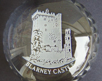 Vintage Irish Leaded Glass Paperweight Blarney Castle Clear Domed Glass Etched Image Desk top Collectible Luck of the Irish