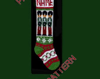 Pattern only  ---  Hand knit Christmas stocking,  nutcracker, wreath and snowflake