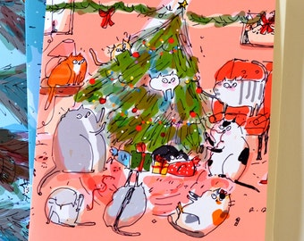 Christmas Cat Card - Funny Christmas Card - Christmas Cat Party