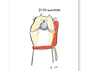Dishwasher - Cat Print - Kithcen Art - Funny Cat Art