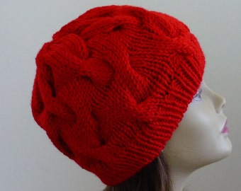 Cable Knit Hat - Soft Wave Cables in Red - Ready to Ship - Direct Checkout