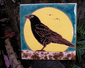 Full Moon Crow tile, AVAILABLE NOW- decorative for backsplash, fireplace surround, wall decor
