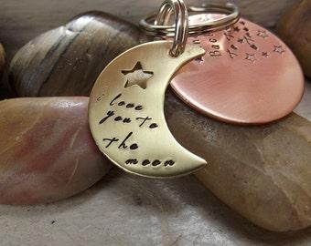 Two Tone Moon Keychain