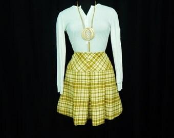 Plaid Wool Mini Skirt 60s Vintage Schoolgirl Pleated Houndstooth Skirt Goldenrod Tartan Mod XS