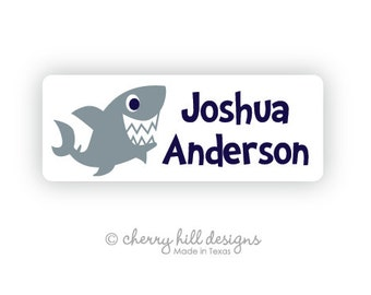 SHARK Iron-on clothing and fabric labels - set of 42 (smallest set) - several template options
