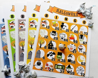 10 Halloween Bingo Games / Classroom Bingo Game / 15 Unique Bingo Game Sheets / Party Game / Kids Party Game / Halloween Game