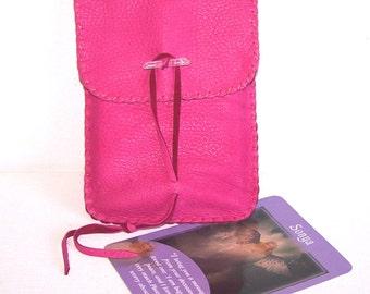 Leather Tarot Bag / Medicine Bag...LARGE Vertical Flap....PINK