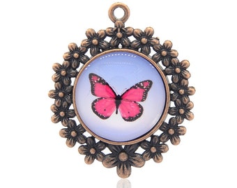 Antique Copper Pink Butterfly Pendant - Sold Individually - #PND156