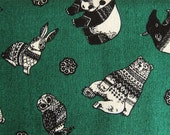 Japanese Cotton Fabric - Amazing Animals on Hunter Green - Fat Quarter