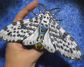 Giant Leopard Moth Eyed Tiger Moth Hypercompe scribonia Iron on Patch