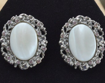 Pretty Vintage Mother of Pearl, Pink Rhinestone Clip Earrings, Silver tone