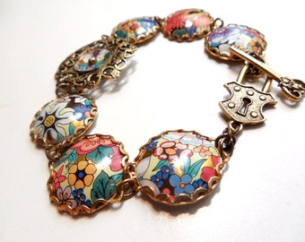 Vintage Tin and Filigree Brass Floral Bracelet, Antiqued Brass, Rustic Jewelry, Lace Edged Findings