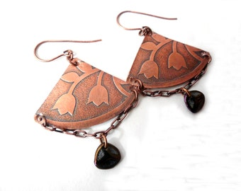Copper Floral Etched Chandelier Earrings, Czech Glass, Triangles, Antiqued Copper chain
